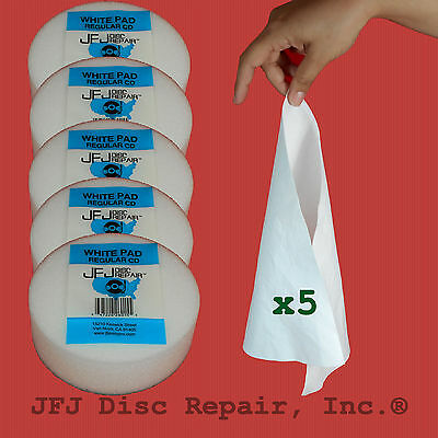 5 Original White Buffing Pad For Jfj Single/double + 5 Reusable Cloth