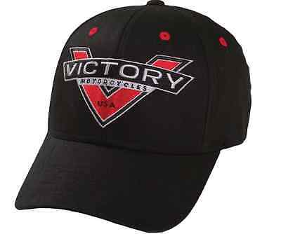 New Victory Motorcycles V Badge Logo Black Hat Cap One Size Fits Most