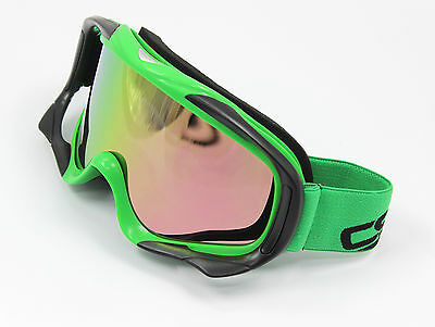 Green tinted motocross motorcycle goggles anti-fog UV protection ATV MX bike