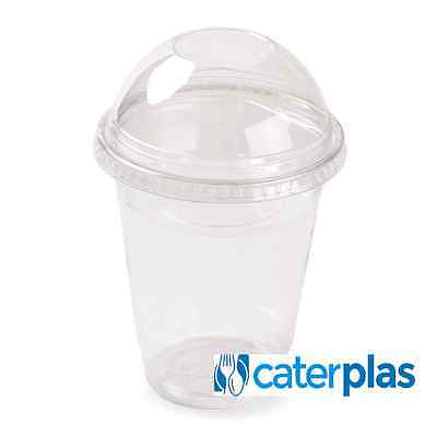 16oz Clear Smoothie Cups with Dome, Flat or no lids Slush Milkshake Juice Sweets