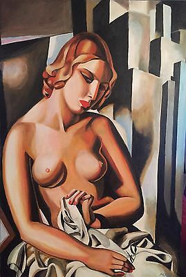 "DAVID ALDUS ORIGINAL ""Nude with building"" Tamara de Lempicka Art Deco PAINTING"