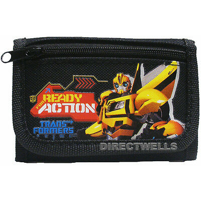 Transformers Authentic Licensed Canvas Black Trifold Children Wallet