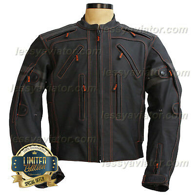 Vulcan VTZ 910 Jacket Motorcycle leather Mens Black Armor Biker Racing MotoGP