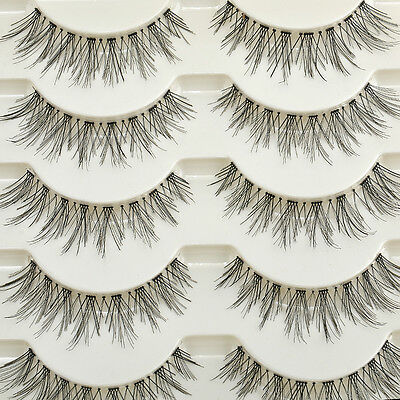 False Fake Human Hair Eyelashes Eye Lashes Women Natural Makeup Beauty 5 Pair