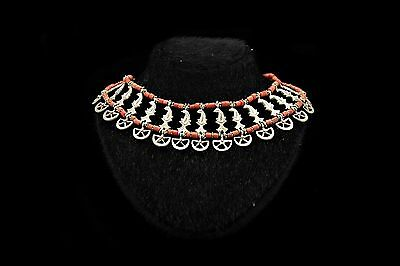 Antique Original Perfect Silver Ottoman Coral Decorated Moonstar Dizayn Necklase
