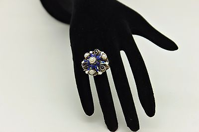 Antique Original Perfect Victorian  Silver Enamel Pearl Decorated For Lady Ring
