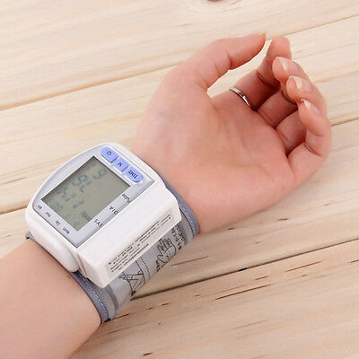New Digital Automatic Wrist Blood Pressure Monitor Heart Beat Meter White