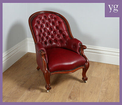 Antique Victorian Mahogany Gentlemens Red Leather Library Easy Open Armchair