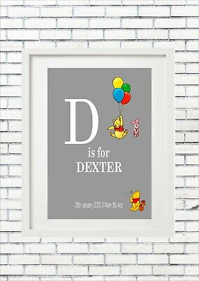 Personalised Winnie the Pooh Christening Gift New Baby Shower Nursery Print Name
