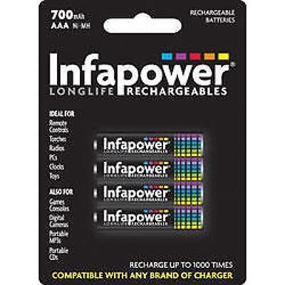Infapower Rechargeable AAA Ni-MH Multi Usage Batteries 1.2v 650mAh 4 Pack New