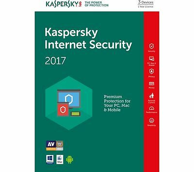 KASPERSKY INTERNET SECURITY 2017 3 PC / Users / Device 1 Year Multi Devices