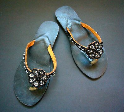 New African Kenyan Leather Tribal Masai Bead Flip-Flop Sandals Shoes 7 or 40 • EUR 27,25