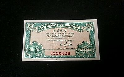 1941 Government of Hong Kong Five Cents Note UNC