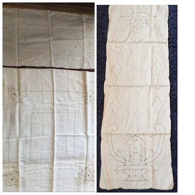 2 Antique Cutwork Linen Tablecloth Runner NWT 1920's Made China
