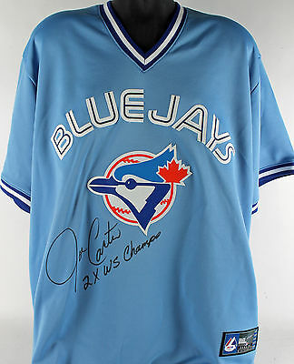 "Blue Jays Joe Carter ""2X WS Champs"" Authentic Signed Blue Majestic Jersey PSA"
