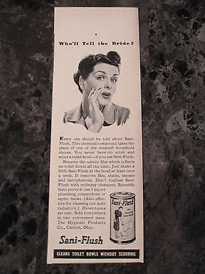 "VTG 1942 Sani-Flush Toilet Bowl Cleaner Print Ad, 7.375"" X 2.625"""