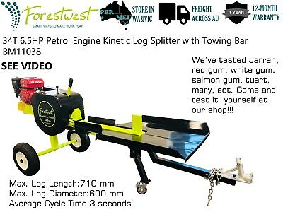 Forestwest 34Ton Petrol Engine Log Splitter Firewood Cutter Axe with Towing Bar