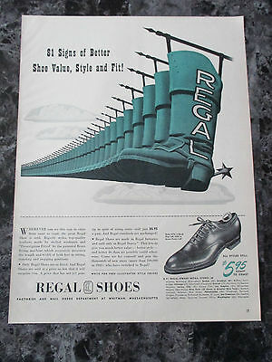 "VTG 1942 Regal Fitted Shoes Print Ad, 13.4"" X 10.125"""