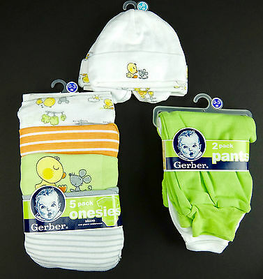 Gerber Baby Onesies Pants Hats Booties Infant 0-3M Girl Boy 11pc Layette Set