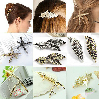 Fashion Women Feather Leaf Leaves Hair Clip Barrette Hairpin Bobby Pin Jewelry
