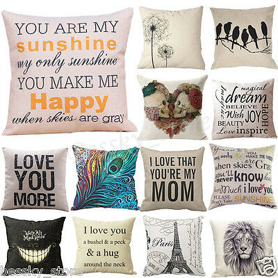 Cotton Linen Pillow Case Car Sofa Bed Waist Throw Cushion Cover Home Decoration