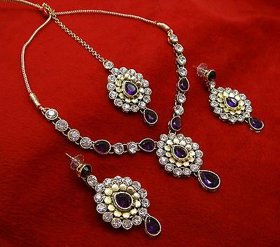Goldtone Traditional Indian Necklace Earring Tikka Set Bollywood Bridal Jewelry