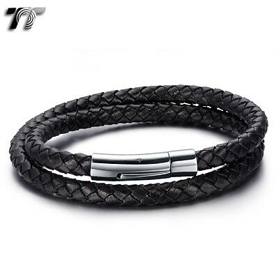TT Double-Row Black Leather 316L Stainless Steel Bracelet (BR213D) NEW Arrival