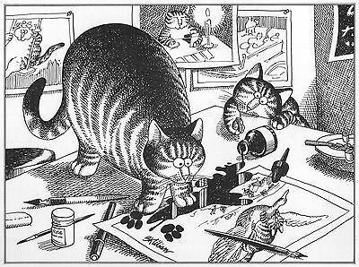 "Cat Art Print /""Cat Fight/"" other ORIGINAL Kliban Book Plates-1979"