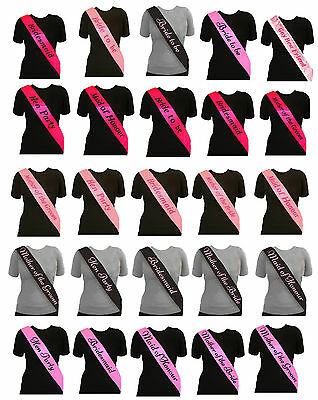 Hen Party Sash Bride To Be Bridesmaid Mother Of Maid Sashes Night Do -5 Colours!