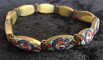 Vintage Italian Jewley Micromosaic Bracelet Blue Red Green Antique