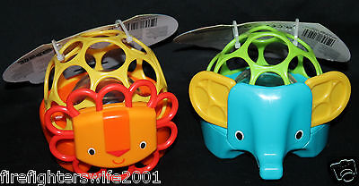 Oball Rollie Rattles Lion Elephant set of 2 Baby Toys Rattles new with tags