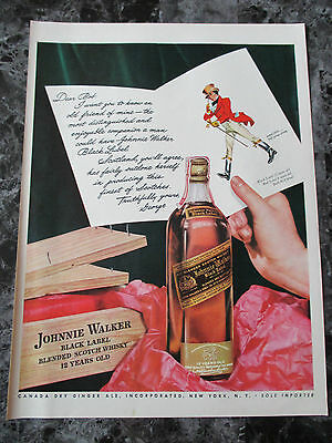 "VTG 1942 Johnnie Walker Black Label Blended Scotch Print Ad, 13.625"" X 10.125"""