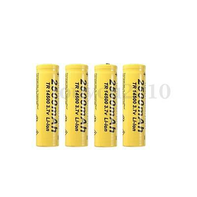 4X HQ TR 14500 3.7V 2500mA Li-ion Rechargeable Batterie Battery Pile Flashlight