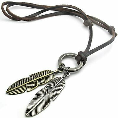MENDINO Men's Alloy Pendant Leather Necklace Cord Vintage Angel Feather Brown