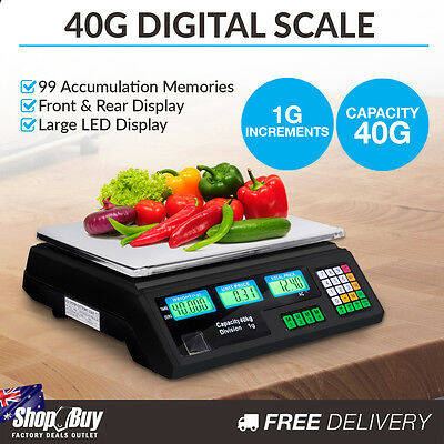Commercial Electronic Digital Weight Scales Kitchen Food Scale 1G / 40kg Black