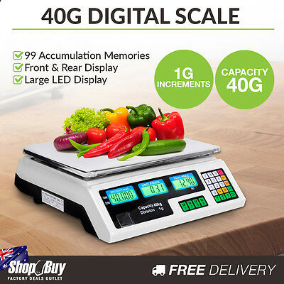 Commercial Electronic Digital Weight Scales Kitchen Food Scale 1G / 40kg White