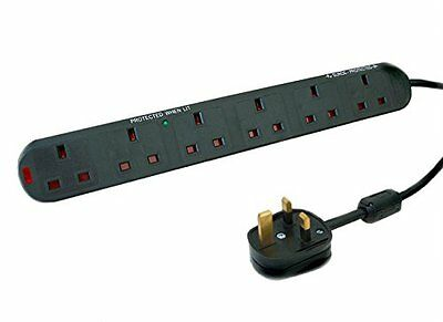 Tacima 2M Cs923x/Bp 6 Way Audio Visual Surge Protection Extension Lead Sound &