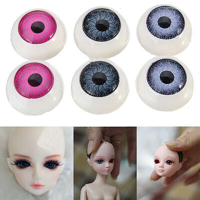20Pcs 12mm Half Round Acrylic Doll Bear Craft Plastic Mixed Color Eyes Doll DIY