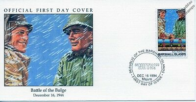 1944 BATTLE OF THE BULGE - 101ST Airborne MCAULIFFE & ABRAMS WWII Stamp FDC