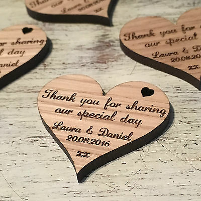 Wooden Love Heart Table Decorations Personalised Rustic Wedding Favour Gift Tags