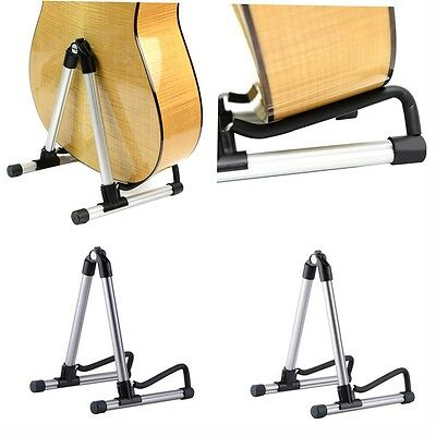 Folding Electric Acoustic Bass Guitar Stand A Frame Floor Rack Holder @1