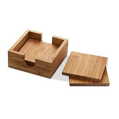 Country Kitchen Style Square Coasters in Rustic Wooden Bamboo Finish - Set of 4