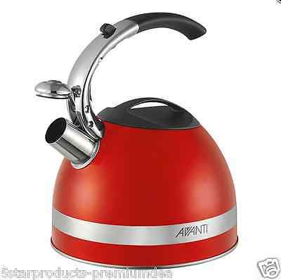 New Avanti Stainless Steel Whistling Kettle 2.5L Fire Engine Red Kitchen Water