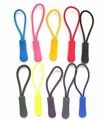 Coat Zipper Pulls- Backpack Sleeping Bag Replacement Toggles Tags- 10 Colours