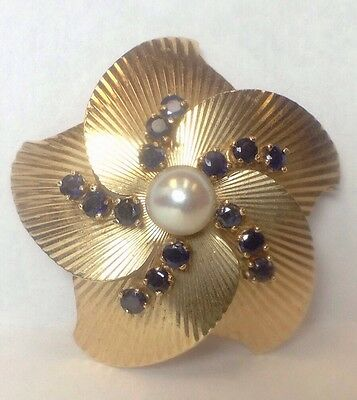 Vintage 14K Yellow Gold 3/4 Carat Sapphire & White Pearl Brooch Flower Pin Women