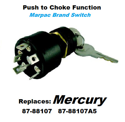 Boat Marine Outboard Ignition Off//On//Start 6 Terminal Key Switch w//Push to Choke