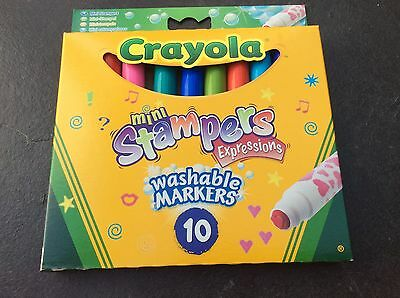 CRAYOLA 10 Mini Stampers Expressions Coloured Washable Markers 10 Stamp Patterns