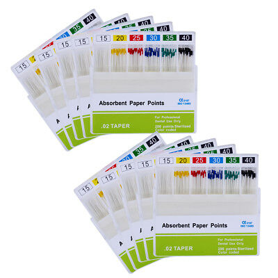 10 Pks NewDental Endodontic Absorbent Paper Points PP 0.02 15-40# For Dental Use