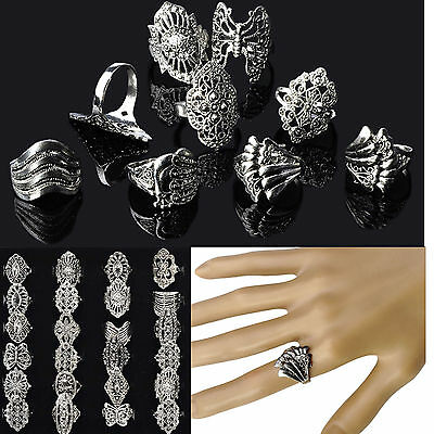 COOL Wholesale Jewelry Lots 10ps Mixed  Tibet Silver Vintage Rings Free shipping