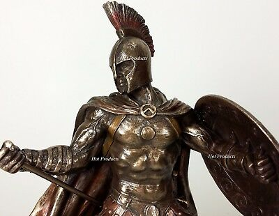 Hector of Troy W/ Spear & Shield GREEK MYTHOLOGY Sculpture Statue Bronze Color